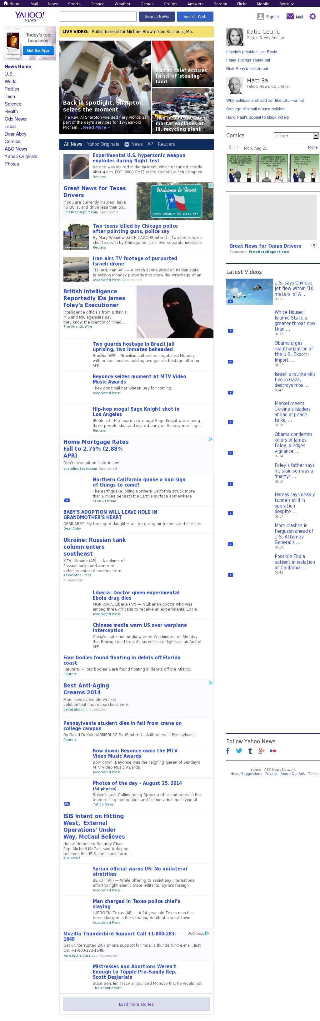 Yahoo! News at Monday Aug. 25, 2014, 5:25 p.m. UTC
