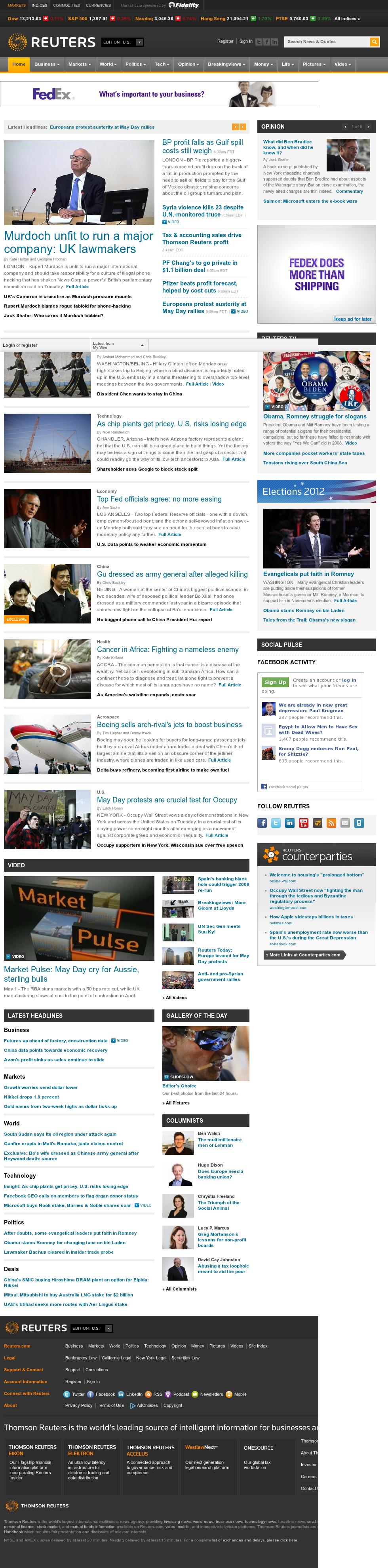 Reuters at Tuesday May 1, 2012, 1:12 p.m. UTC