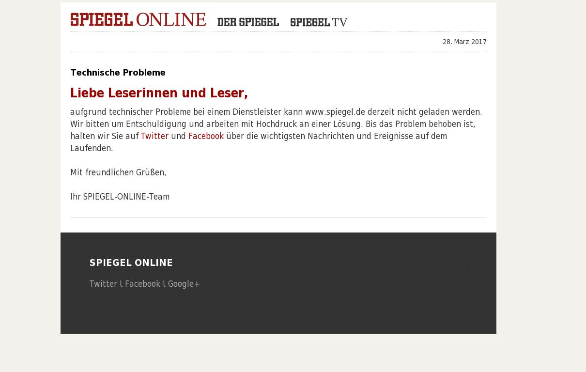 Spiegel Online at Tuesday March 28, 2017, 8:21 a.m. UTC