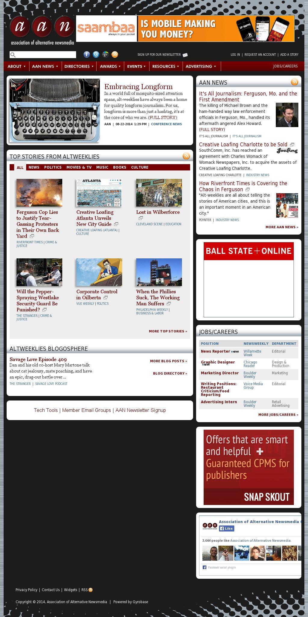 Association of Alternative Newsmedia at Tuesday Aug. 26, 2014, 10 a.m. UTC