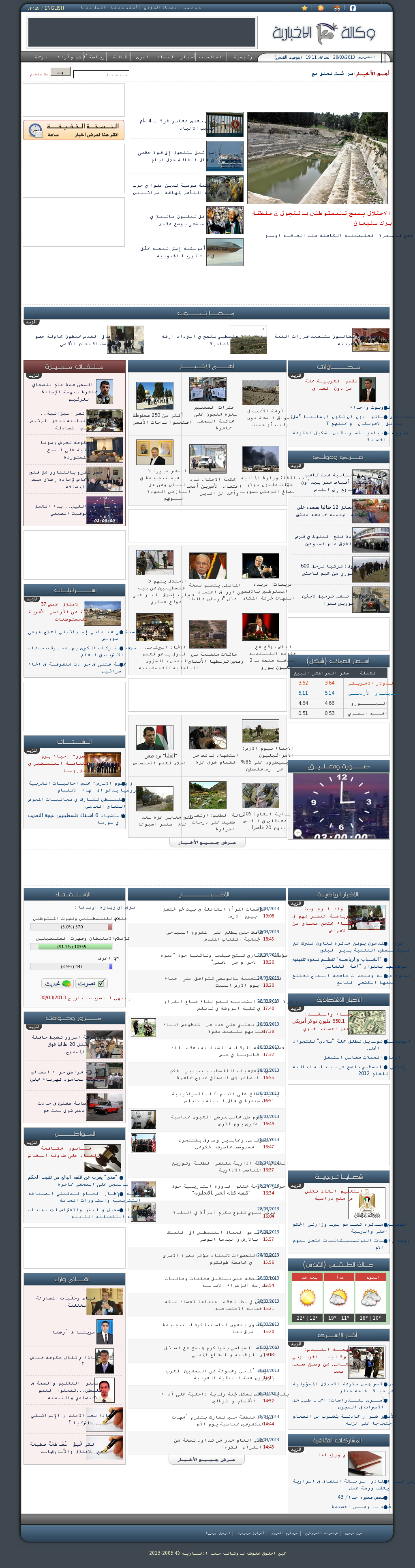 Ma'an News at Thursday March 28, 2013, 5:11 p.m. UTC