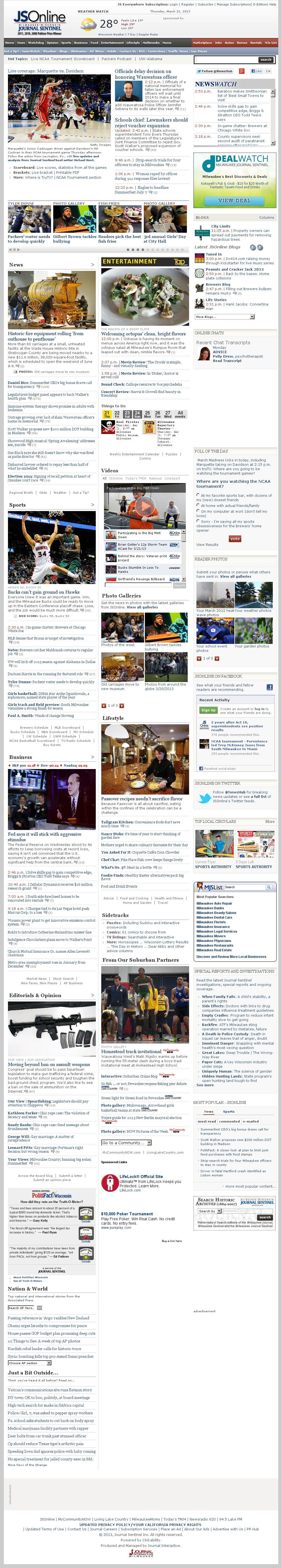 Milwaukee Journal Sentinel at Thursday March 21, 2013, 8:13 p.m. UTC