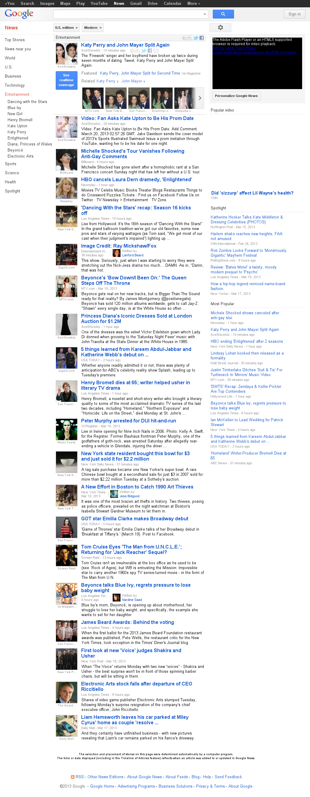 Google News: Entertainment at Wednesday March 20, 2013, 4:11 a.m. UTC