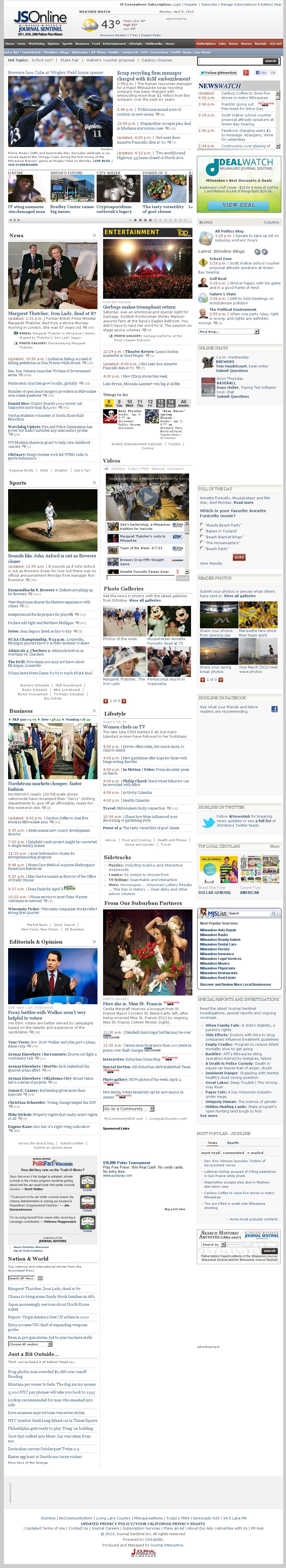 Milwaukee Journal Sentinel at Monday April 8, 2013, 9:14 p.m. UTC