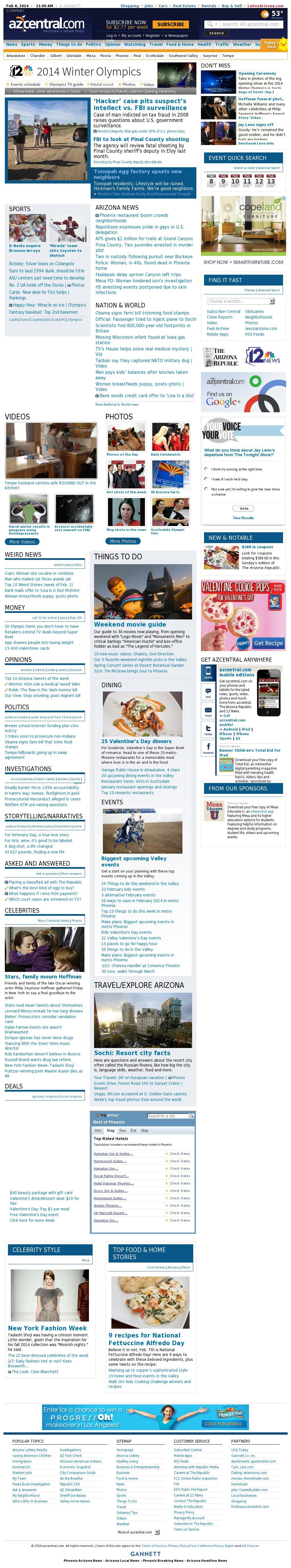 azcentral.com at Saturday Feb. 8, 2014, 11 a.m. UTC