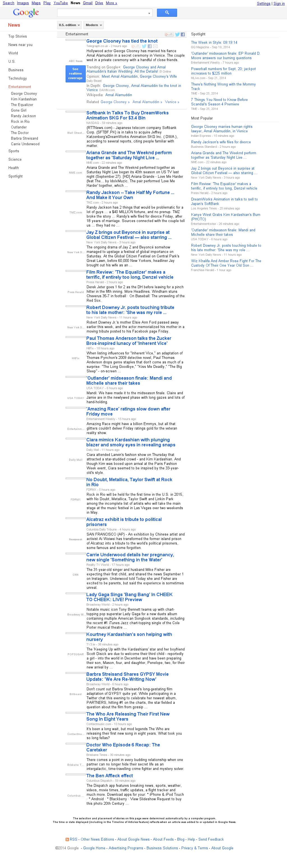 Google News: Entertainment at Sunday Sept. 28, 2014, 11:06 a.m. UTC
