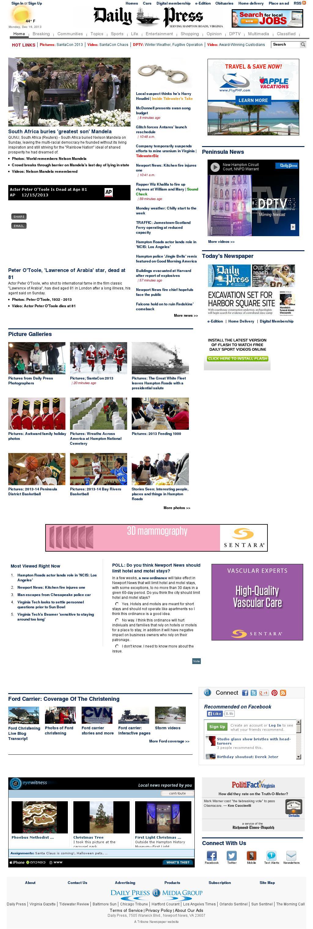 (Hampton Roads) Daily Press at Monday Dec. 16, 2013, 5:03 p.m. UTC