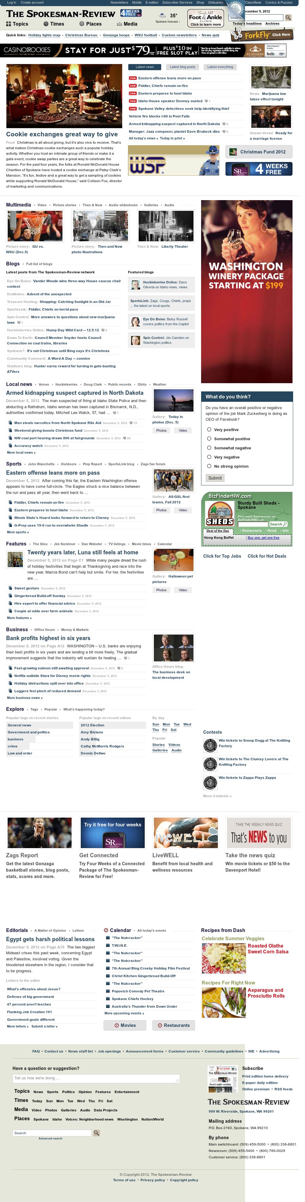 The (Spokane) Spokesman-Review at Thursday Dec. 6, 2012, 6:15 a.m. UTC
