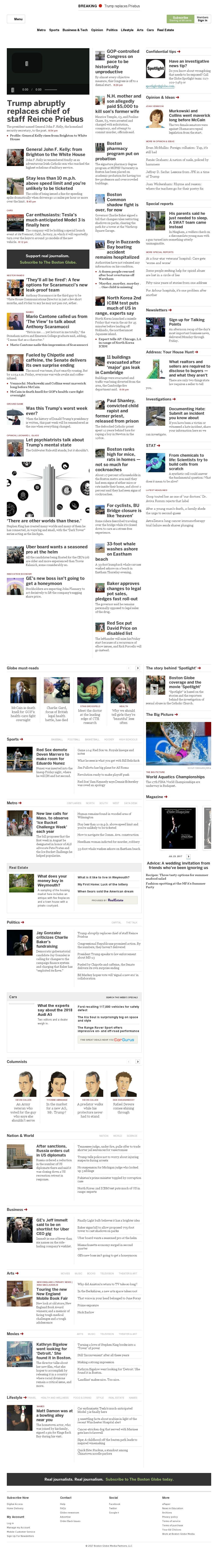 The Boston Globe at Friday July 28, 2017, 11:01 p.m. UTC