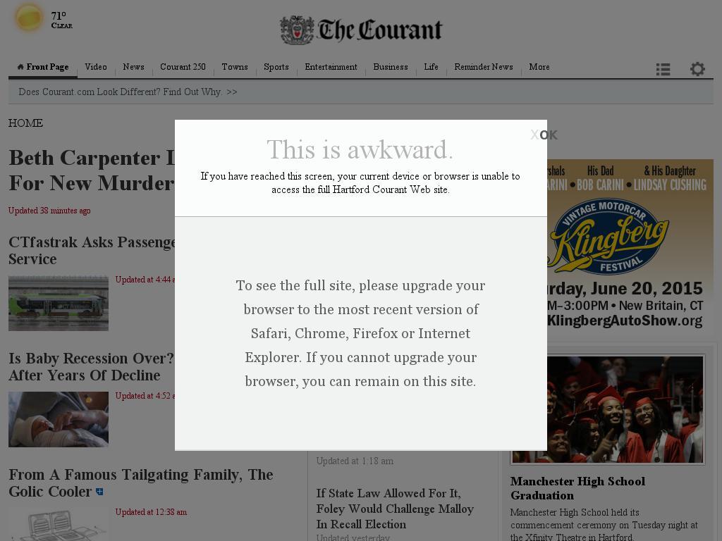 Hartford Courant at Wednesday June 17, 2015, 2:11 p.m. UTC