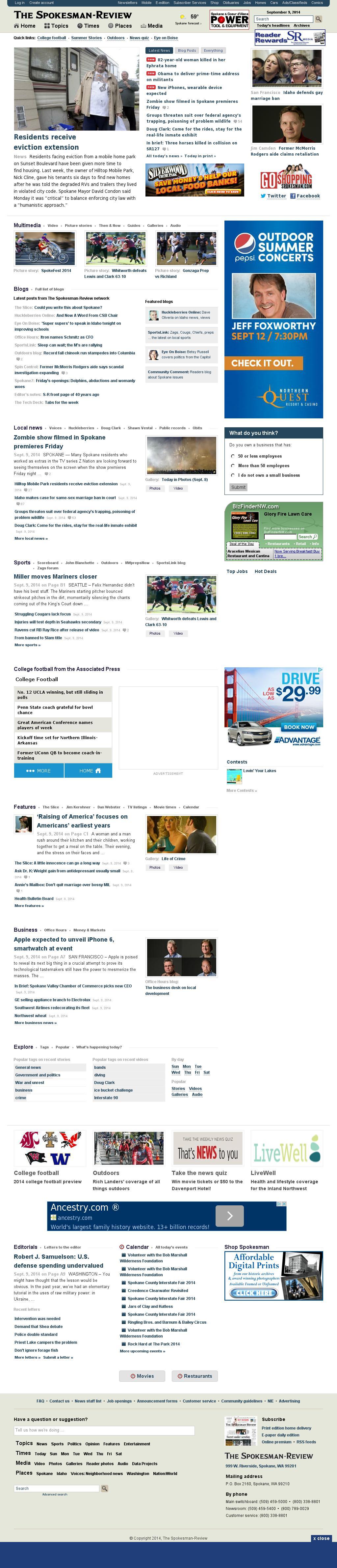 The (Spokane) Spokesman-Review at Tuesday Sept. 9, 2014, 6:20 p.m. UTC