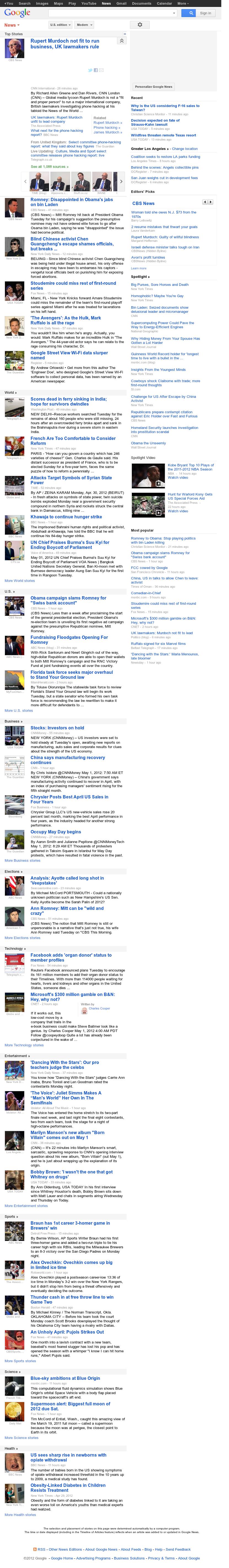 Google News at Tuesday May 1, 2012, 1:08 p.m. UTC