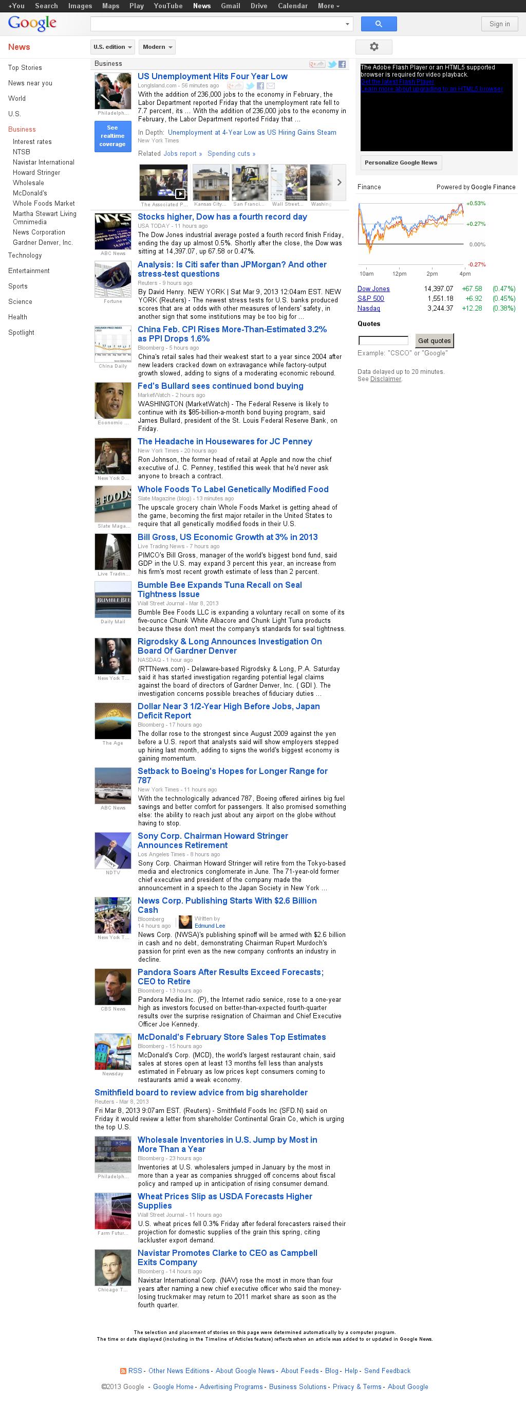 Google News: Business at Saturday March 9, 2013, 2:07 p.m. UTC