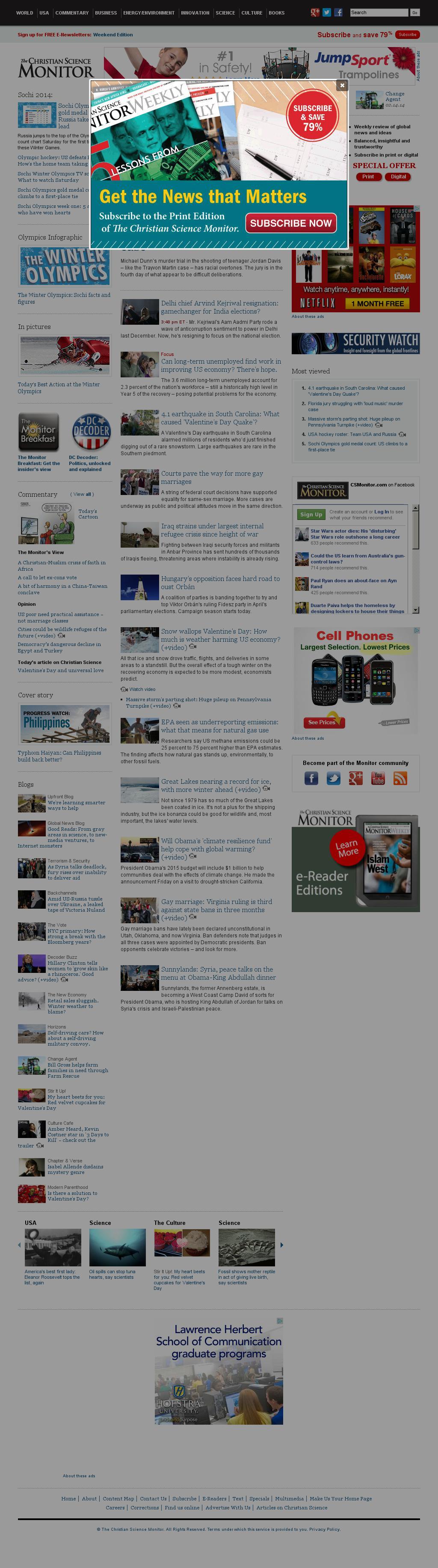 The Christian Science Monitor at Saturday Feb. 15, 2014, 11:02 p.m. UTC