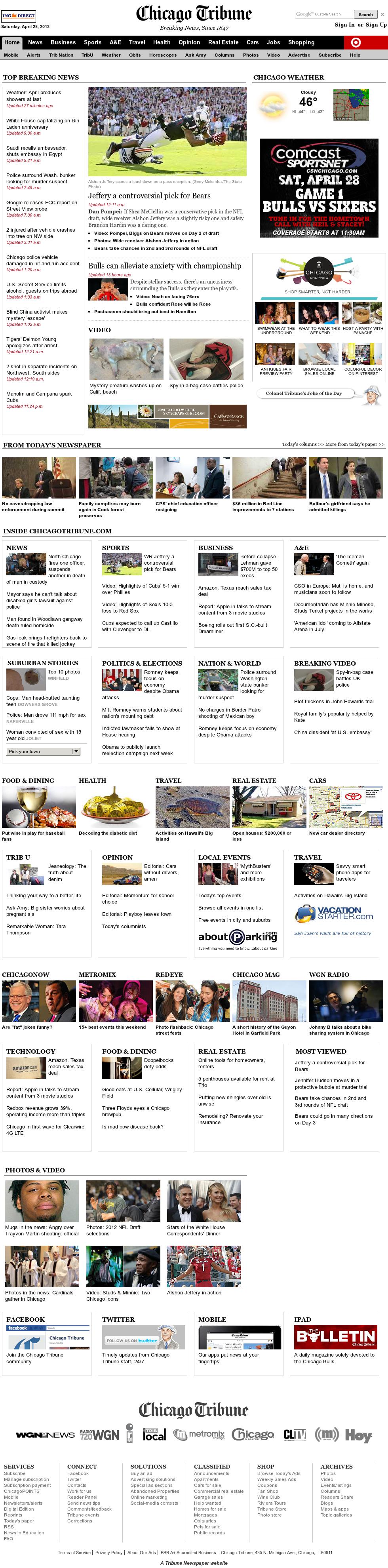 Chicago Tribune at Saturday April 28, 2012, 3:22 p.m. UTC