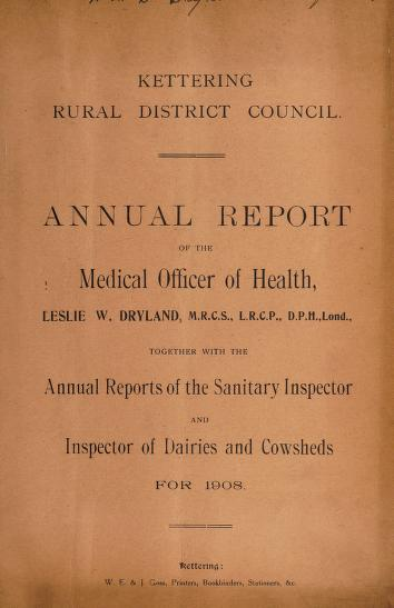 Cover of: [Report 1908]   Kettering (England). Rural District Council